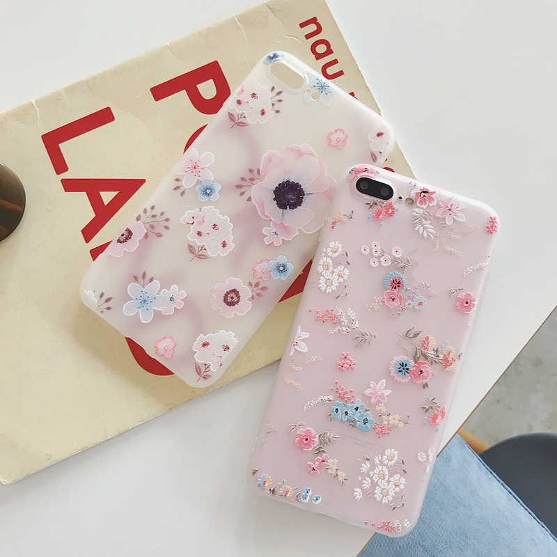 Luxury 3D Silicone Case For iPhone 5 5s SE 6 7 6S 8 Plus 5S SE X XS MAX XR Shockproof Flower Phone Case For iPhone 6 7 Case Girl
