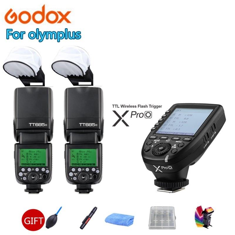 2X Godox TT685O Macchina Fotografica Flash Speedlite GN60 Wireless TTL HSS + Xpro-O Trigger per Olympus PEN-F E-P3 P5 PL5 PL6 PL7 PL8 M1 M10II