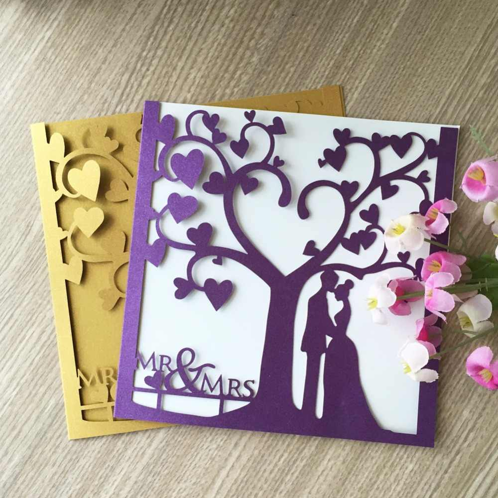 Excellent 50Pcs Lot Peach Color Love Heart Laser Cut Wedding Invitations Funny Birthday Cards Online Sheoxdamsfinfo