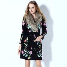 Luxury Coat 2015 Autumn  Winter New Fashion Nagymaros Collar Removable Full Sleeve Flower Embroidery Brand Elegant Coat Women