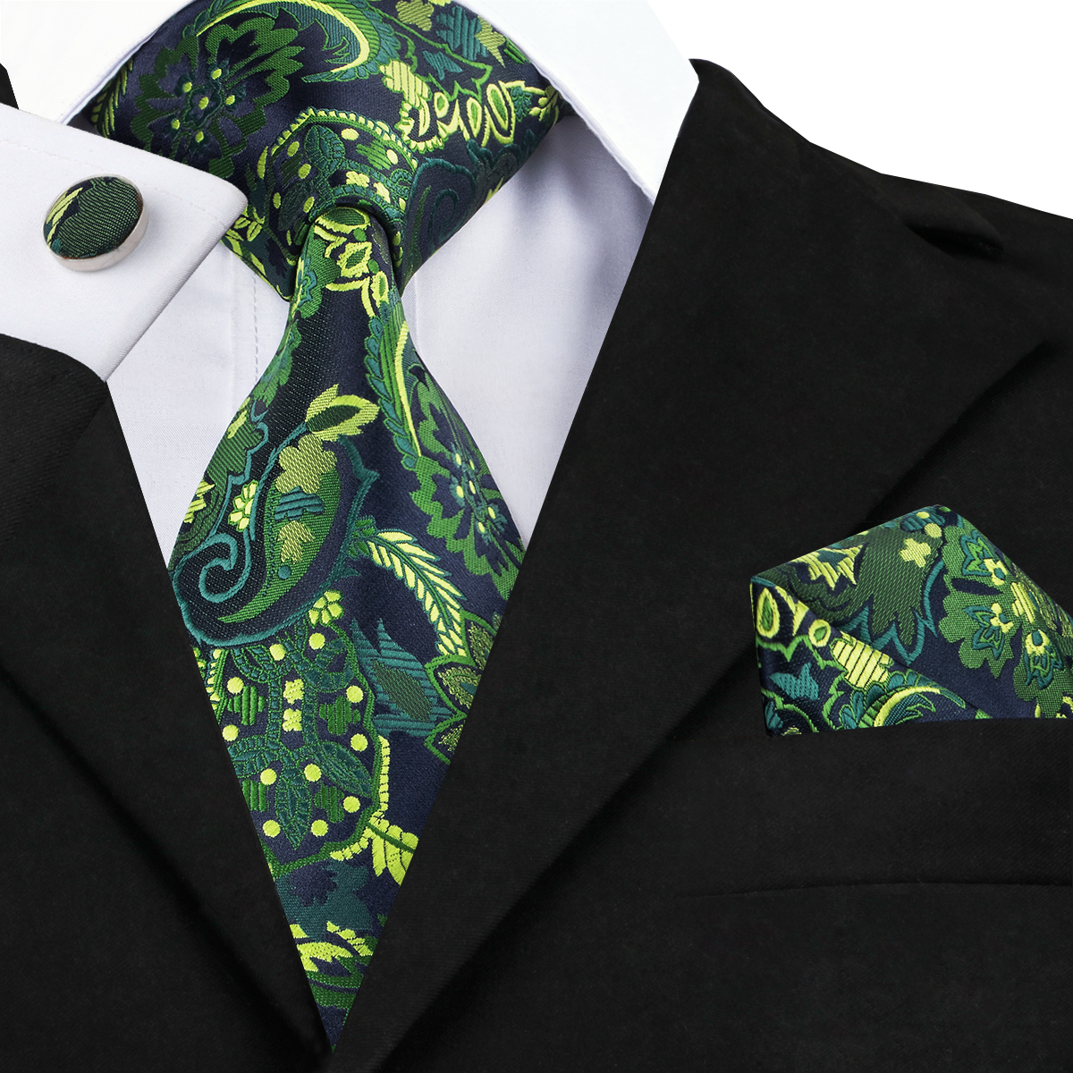 C-1444 New Arrival Green Floral Jacquare Woven Ties For Men Silk Tie High Quality Men's Necktie Pocket Square Hanky Cufflinks