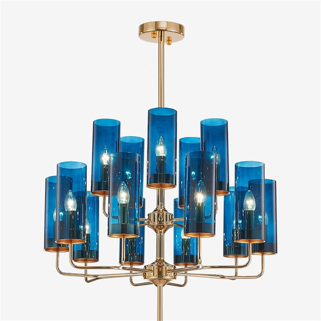 New Modern Art Pendant Chandelier Plated Metal Glass Shades Hanging Lamp For Living Room Dining