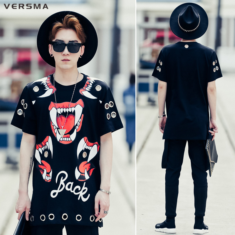versma 2017 korean harajuku swag rivet 3d print t shirt top tee summer high street men fashion. Black Bedroom Furniture Sets. Home Design Ideas