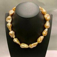 Барокко большой натуральный пресноводный жемчуг колье ожерелье оранжевый цвет Модные женские ювелирные изделия Бесплатная доставка 20*13,5 д
