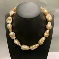 baroque big natural fresh water pearl choker necklace orange color fashion women jewelry free shipping 20*13.5 to 30*13.5*20MM