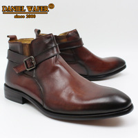 Luxury Design Leather Shoes Men Boots High Grade Genuine Leather Men Ankle Boots Buckle Strap Brown Black Shoes Basic Boots Men