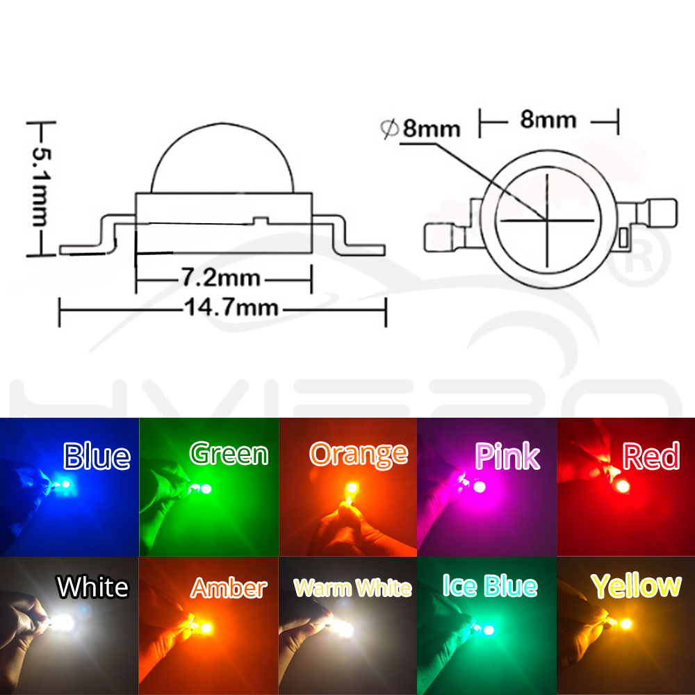 Hviero 10Pcs 5W High Power Chip light bead emitter Warm White White Yellow Green Pink Red 45MIL 2.2~7V 180-550LM  380NM~6500K LED Bulb
