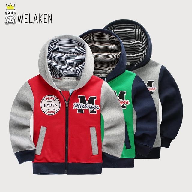 2-8 años niños hoodies m cartas patrón niñas niños abrigo con capucha, además de terciopelo ropa de otoño niños clothing niños capa de la chaqueta