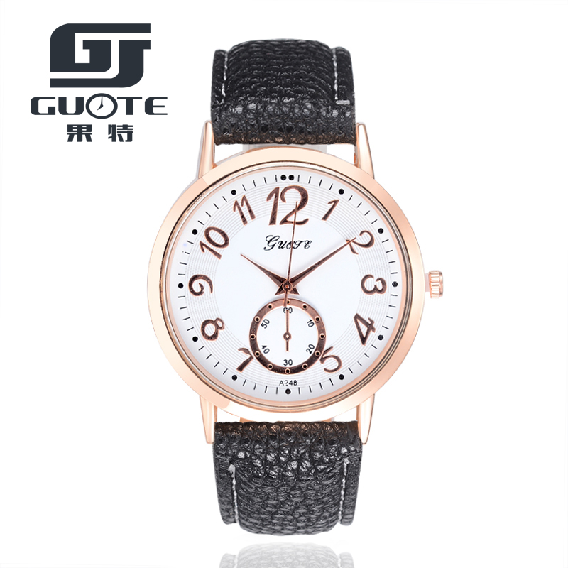 GUOTE Classic Women Business Wrist Watches Mens Top Brand Faux Leather Strap Quartz Watch Unisex Clock Relogio Masculino Saat