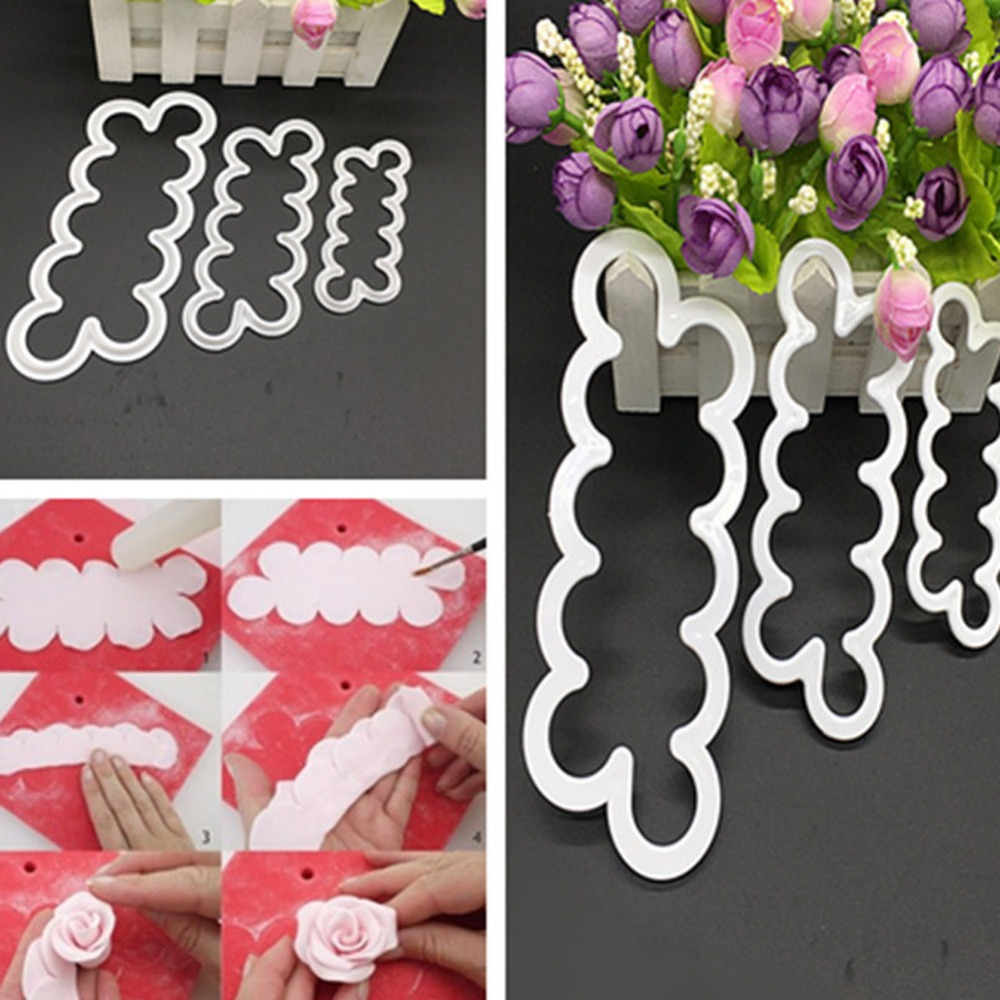 3pcs/set In A Small Tuba Rapid Production Rose Fondant Flowers Die Cutting Biscuit Cake Modeling Tools