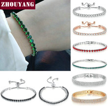 ZHOUYANG Bracelet For Women Luxury Style 4 Color 4 Claws Mosaic Cubic Zirconia Silver Color Fashion Jewelry Gift H095(China)