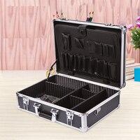 Electricians Aluminium Lockable Silver Tool Flight case Organiser storage Box with shoulder belt