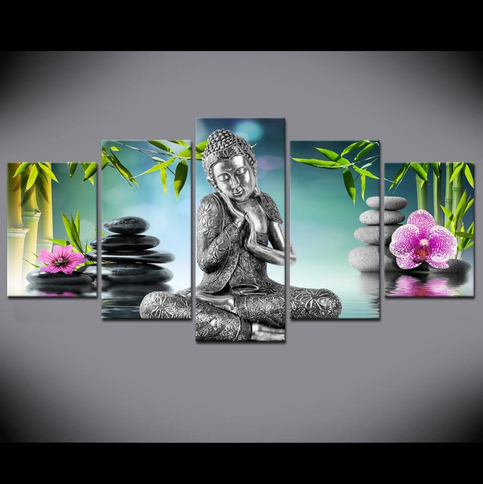 Картина с изображением Будды на холсте, 5 шт., для декора спальни, современная картина с изображением Орхидея Будда, бамбука, воды, Дзена, без ...