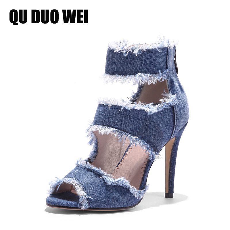 2018 New Denim Blue Women Pumps 2018 New Summer Shoes Woman Peep Toe Thin High Heels Gladiator Shoes Ankle Strap Women Sandals marlong women sandals summer new candy color women shoes peep toe stappy beach valentine rainbow jelly shoes woman