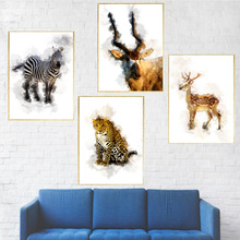 Watercolor Zebra Deer Leopard Antelope Nordic Poster And Print Wall Art Canvas Painting Pictures For Living Room Home Decor