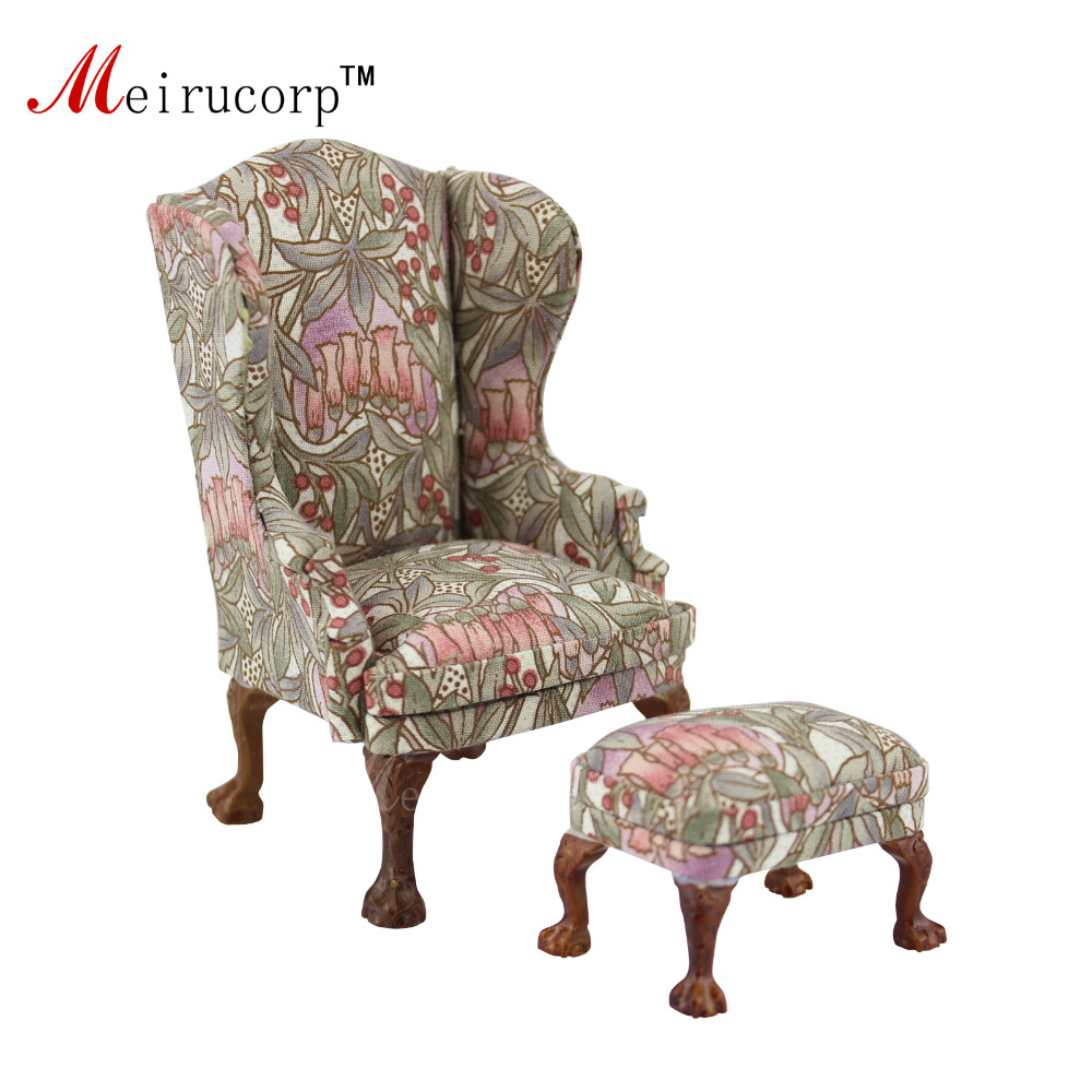 dollhouse 1/12 scale miniature furniture Well Petal pattern Fabric chair and ottoman deep–sea biodiversity – pattern and scale