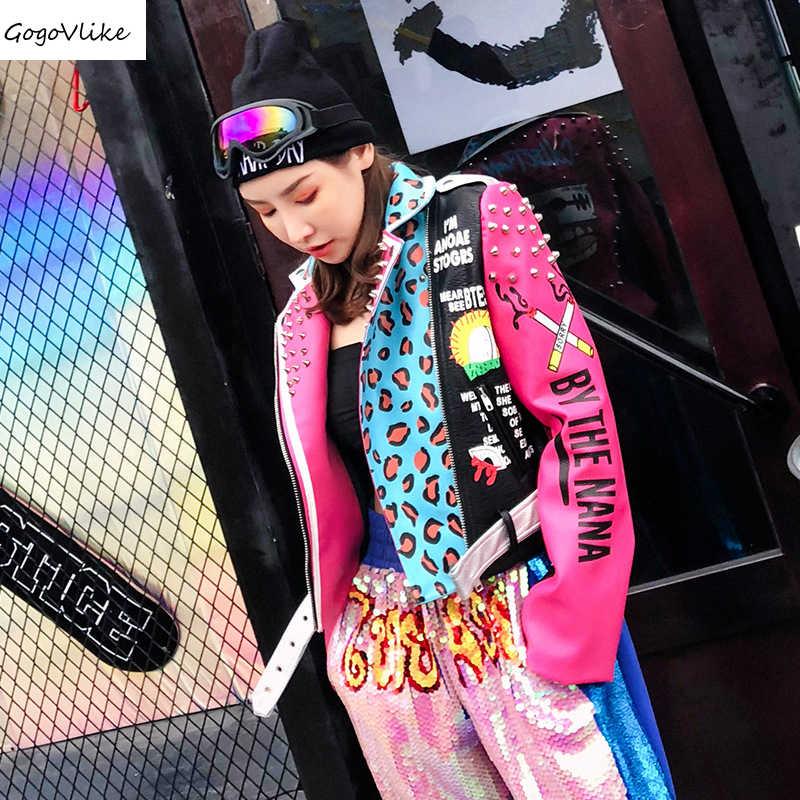 Graffiti Giacca Punk Rivet Fascia Giacca di 2018 Donne di cuoio DELL'UNITÀ di elaborazione Moto Cappotto Rosso Bocca Bel Giubbotti Disegno del Bicchierino LT777S50