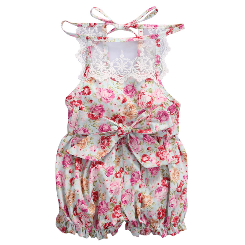 Newborn Kids Baby Girls Clothes round neck Jumpsuit sleeveless Romper casual floral print Playsuit Lace Hat 2PCS cotton Outfits
