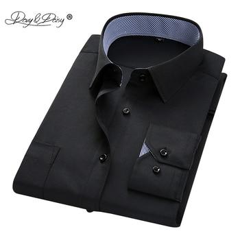 6f1c931a6 DAVYDAISY marca hombres camisa manga larga camisa de trabajo de negocios  hombres sarga vestido sólido camisas formales Slim camiseta masculina DS214