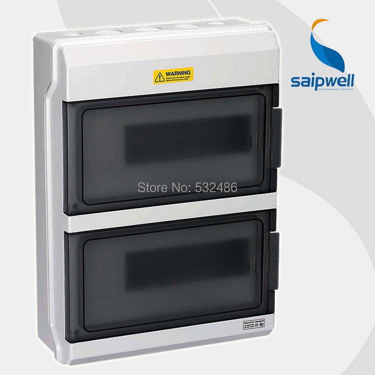 Saipwell GDB-36ways Low Voltage Plastic Distribution Box Waterproof Breaker Box Industry Weak Distribution Box Micro off Box white plastic cuboid 2 4 way power distribution box guard cover