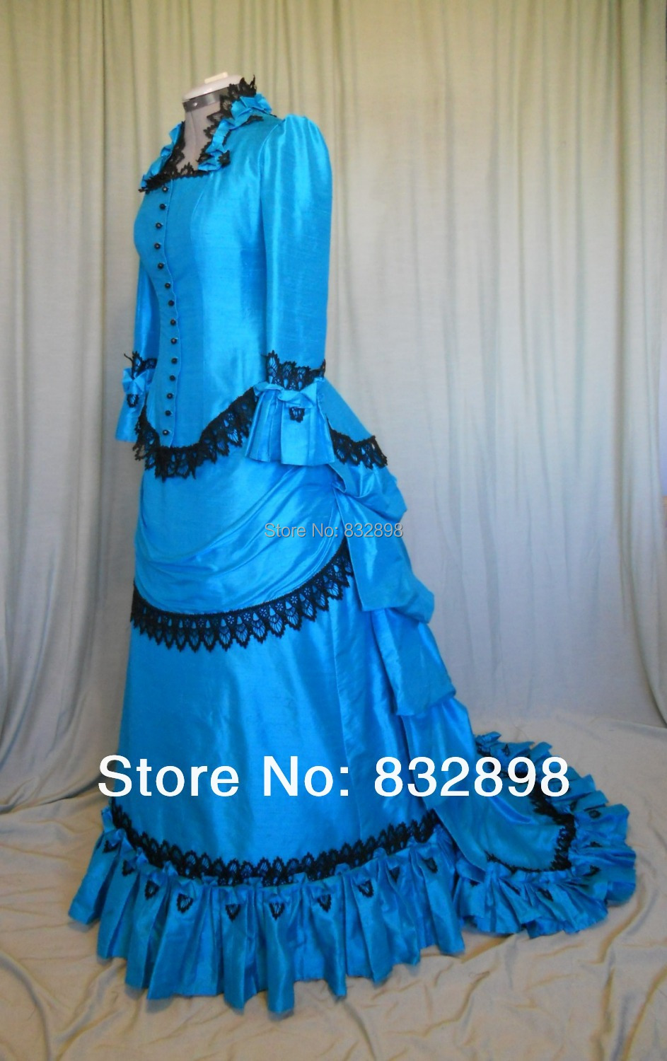 Long Blue Victorian Bustle Dress Theare Movie Dresses