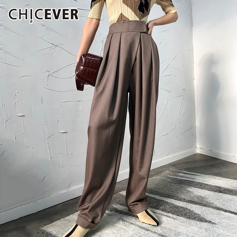 CHICEVER Summer Casual Solid  Harem Trousers For Women High Waist Loose Wide Leg Pants Female 2019 Spring Korean Fashion Tide