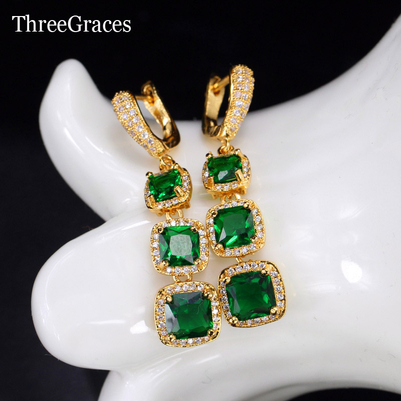 ThreeGraces Women Gold Color Jewelry Square Inlay Cubic Zirconia Stone Natural Green Crystal Long Dangle Vintage Earrings ER417 yoursfs dangle earrings with long chain austria crystal jewelry gift 18k rose gold plated