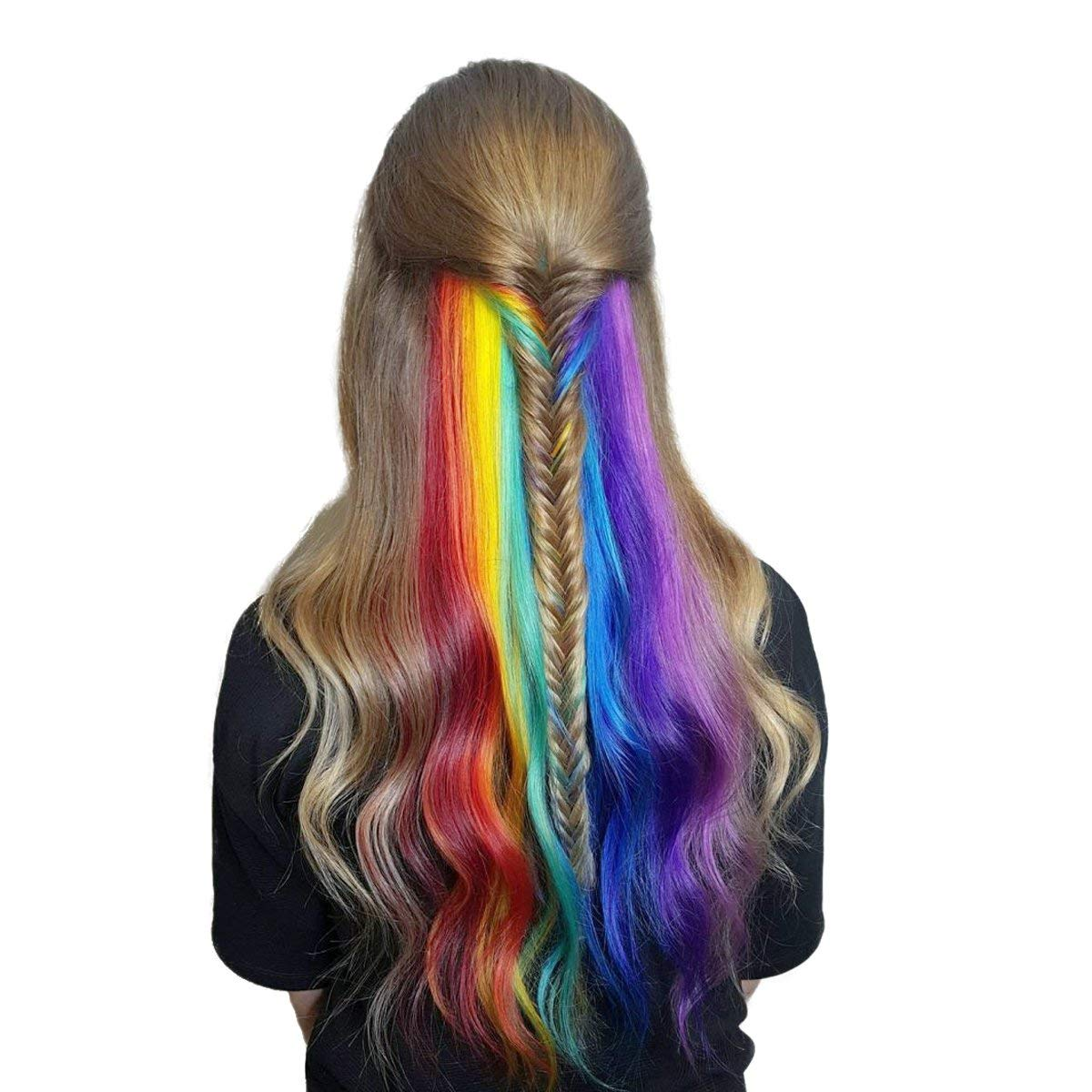 JINKAILI 22 Inches Straight Colored Clip in Hair Extensions Party Highlight Multiple Col ...