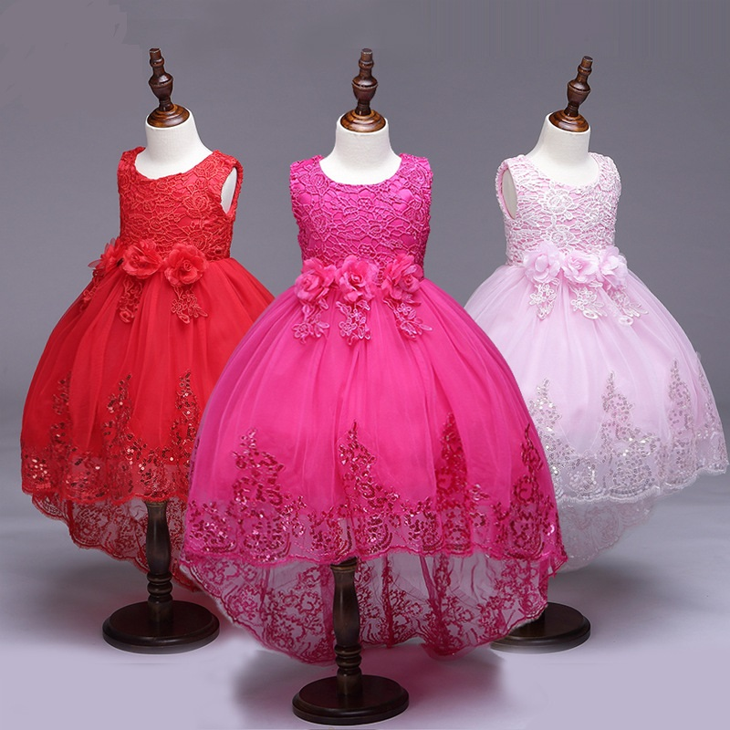 L8804 New Fashion Spring and summer Girl Clothes Children Tailed Evening Dress Sequin Flower Princess Dress