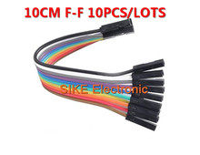10pcs 10cm 2.54mm 1p-1p Pin Female to Female Color Breadboard Cable Jump Wire Jumper For Arduino