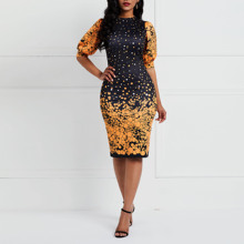 Clocolor Office Ladies Women Dresses Casual Elegant Black Color Block Bodycon Lantern Short Sleeve Plus Size Printed Midi Dress