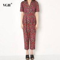 VGH V Neck Jumpsuit For Women Short Sleeve High Waist Slim 2019 Print Ankle length Jumpsuits Female Fashion New Tide Summer