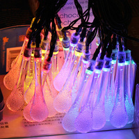 Outdoor Waterproof LED String Lights 6M 30LEDs Solar Power Water Drop Christmas Lamp Holiday Decor LED