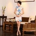 Charming Retro Satin Mini Cheongsam Chinese Traditional Evening Dress Qipao QP14