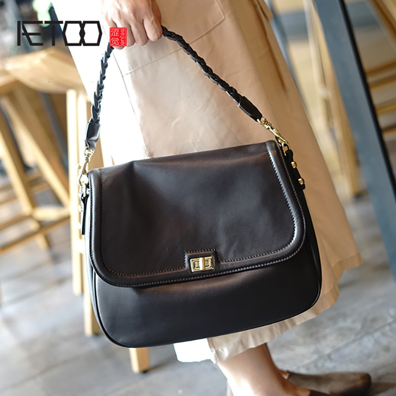 AETOO シンプルなファッションの女性のバッグ、革大容量ソフト牛革ショルダーバッグ、織ショルダーストラップクロスボディバッグ  グループ上の スーツケース & バッグ からの トップハンドルバッグ の中 1