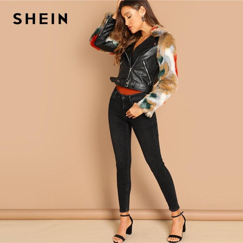 SHEIN Casual Multicolor Faux Pelz Hülse Und Kragen Biker Kerb Jacke Herbst Arbeitskleidung Moderne Dame Frauen Mantel Oberbekleidung