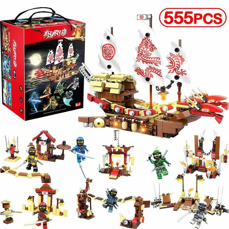 6IN1 Ninjago Friends Dragon Boat Sets Building Blocks Compatible Legoinglys Education Children's Bricks For Boy Toys Gifts