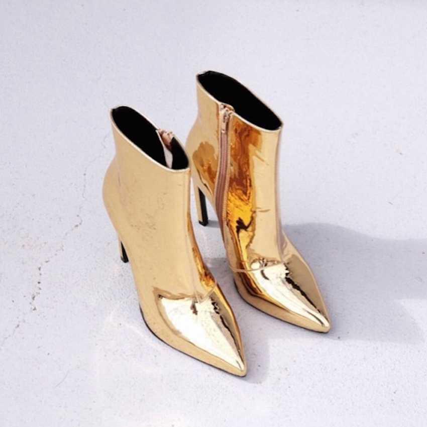 זהב כסף נשים עור נעלי חורף אופנוע מגפי גבירותיי קרסול מגפי פו פרווה אביב סתיו עקבים גבוהים מגפי אישה