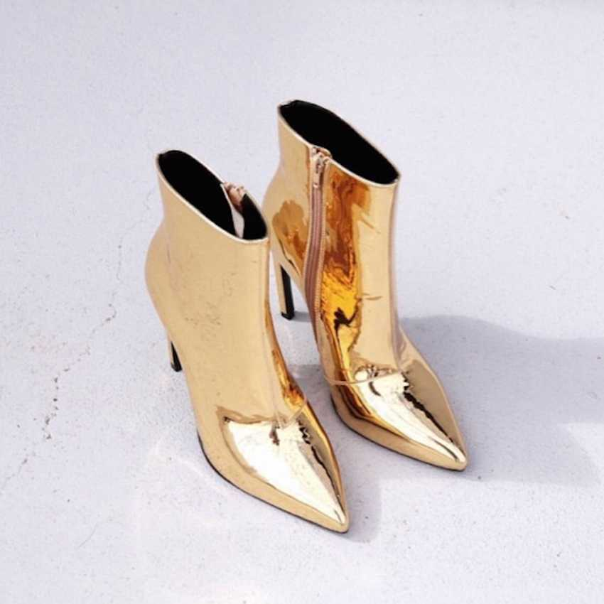 Gold Silber Frauen Winter Schuhe Patent Leder Motorrad Stiefel Damen Stiefeletten Faux Pelz Frühling Herbst High Heels Stiefel Frau