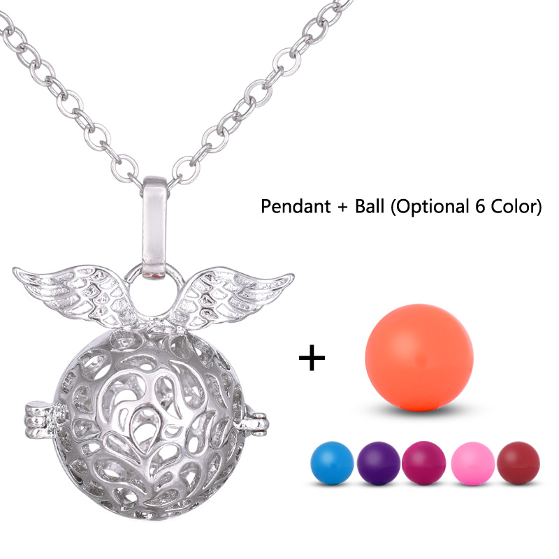6 Colors Woman Prenatal Necklaces, Musical Baby Sound Jingle Bell Pendant Necklace Jewelry Alloy Chain