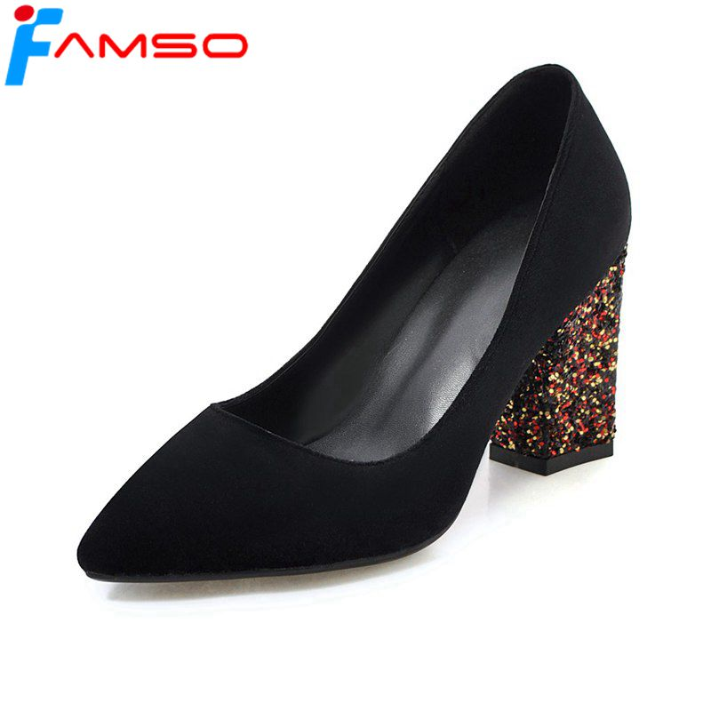 FAMSO 2018 New Arrival Women Pumps Shoes Big Size 34-43 Pointed toe Glitter high Heels Spring Autumn Designer Prom Pumps plus size 34 49 new spring summer women wedges shoes pointed toe work shoes women pumps high heels ladies casual dress pumps
