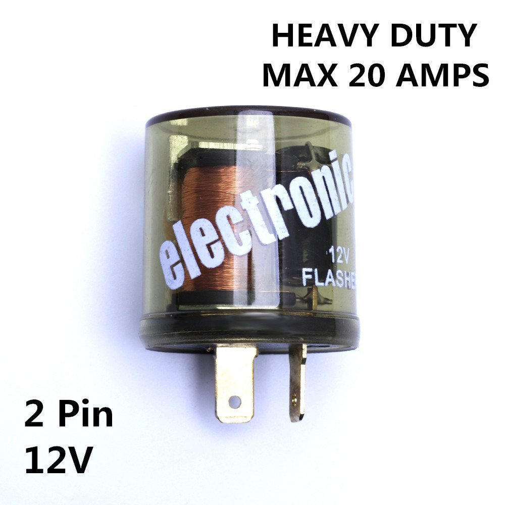 12 V Industries chrome Electronic Turn Signal Flasher Relay LED Compatible Handles up to 20 Amps