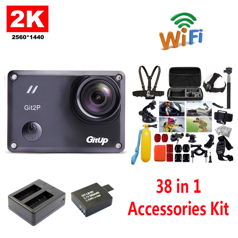 Free Shipping GitUp GIT2P 2K WiFi Camera 30fps 1080P Sports Action Cam Extra 1pcs Battery Battery