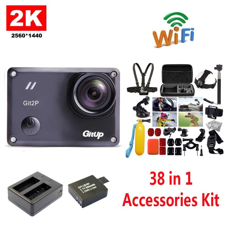 bilder für Freies Verschiffen!! GitUp GIT2P 2 Karat WiFi Kamera 30fps 1080 P Sport Action Cam + Extra 1 stücke batterie + Ladegerät + 38 Stücke Zubehör Kit