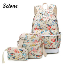 СКИОНЕ цветочные и Товары для птиц печати рюкзак Стильный Холст Школьные Рюкзаки студент цветок Bookbag + сумка/мини-сумка 3 шт./компл.
