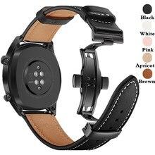 Pulseira para samsung galaxy watch 3 41mm/45mm/42mm/46mm/gear s3/active 20mm/22mm banda de relógio borboleta fivela pulseira de couro cinto