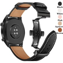 Strap for Samsung Galaxy Watch 3 41mm/45mm/42mm/46mm/Gear S3/Active 20MM/22MM Watch Band Butterfly Buckle Leather Bracelet Belt