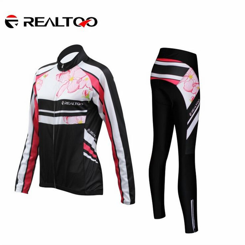 New Womens Cycling Sets Thin Cool Long-sleeved Outdoor Cycling Jersey+ Cycling Pants Breathable Cycling Clothing REALTOO 14