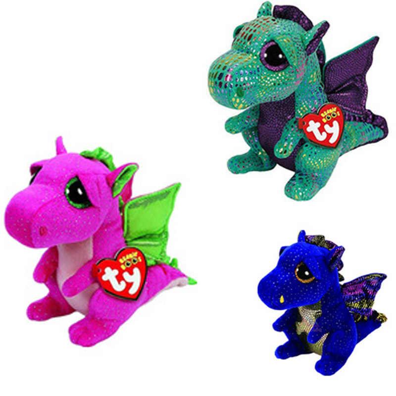 15 CM Brinquedo De Pelúcia Ty Cinza Dragão De Pelúcia Boneca Animal Crianças Grandes Olhos Brinquedo Macio Presente de Aniversário Bonito