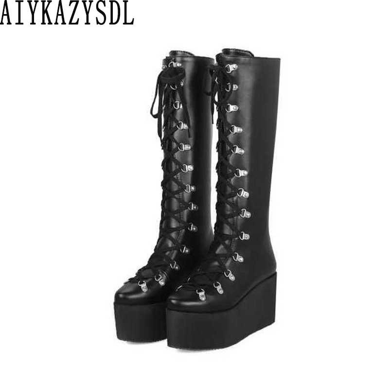 Punk Knee High Boots Women Platform Wedge High Heel Lace Up Buckle Oxfords Goth